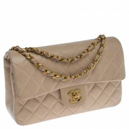 Chanel Beige Quilted Leather Small Classic Double Flap Bag 238102