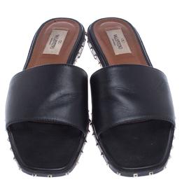 Valentino Black Leather Studded Slip On Slides Size 38.5 238706