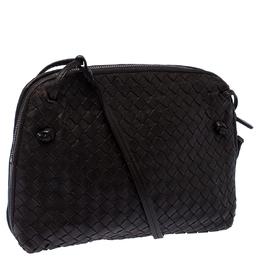 Bottega Veneta Dark Brown Intrecciato Leather Nodini Crossbody Bag 235295