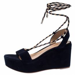 Gianvito Rossi Blue Suede Wedge Platform Ankle Strap Sandals Size 37 233316