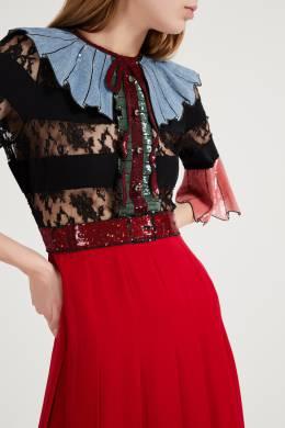 Платье макси с кружевом и пайетками Gucci 470161893