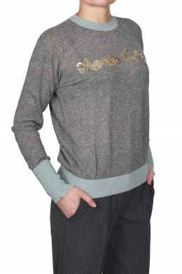 Серый свитер с надписью и голубой отделкой Manila Grace 3056161329