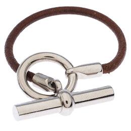 Hermes Brown Leather Palladium Plated Glenan Toggle Bracelet