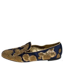 Roger Vivier Blue Satin Gold Coil Embellished Smoking Slipper Loafers Size 40