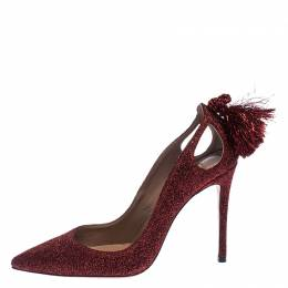 Aquazzura Red Shimmery Fabric Forever Marilyn Pointed Toe Pumps Size 37.5