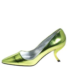 Roger Vivier Metallic Green Leather Decollete Virgule Pumps Size 35.5