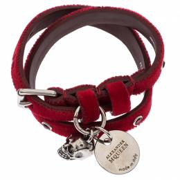 Alexander McQueen Red Studded Velvet Double Wrap Skull Leather Bracelet 238069