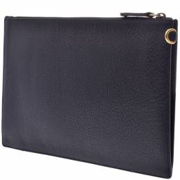 Gucci Black Leather Bee Plate Clutch Bag 239079