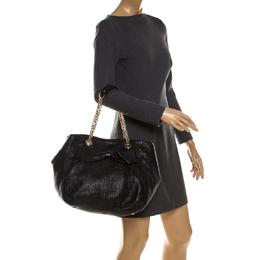 Carolina Herrera Black Embossed Leather Bow Bucket Shoulder Bag 235291