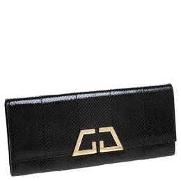Gucci Black Snakeskin G Night Flap Clutch 235255