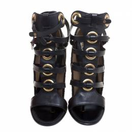 Salvatore Ferragamo Black Leather Shyla Gladiator Sandals Size 38.5 234763