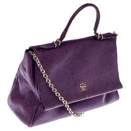 Carolina Herrera Purple Leather Minuetto Flap Top Handle Bag 234766
