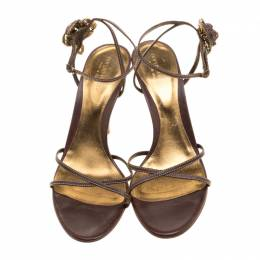 Sergio Rossi Brown Leather Rose Embellished Ankle Wrap Sandals Size 41 135802