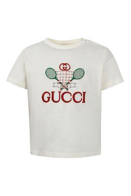 Белая футболка с вышивкой Gucci Kids 1256161934