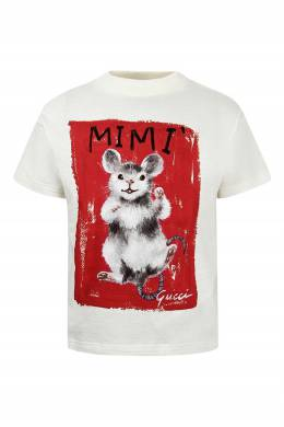 Белая футболка с рисунками Gucci Kids 1256161936