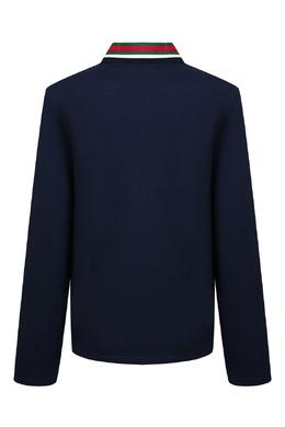 Синее поло с узорным воротником Gucci Kids 1256161943