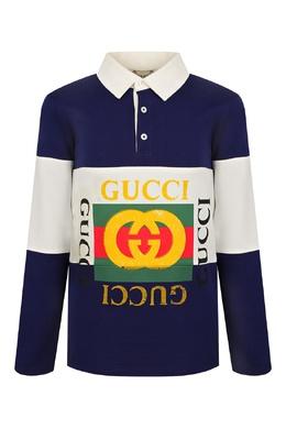 Сине-белое поло с логотипами Gucci Kids 1256161944
