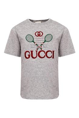 Серая футболка с тематической вышивкой Gucci Kids 1256161931