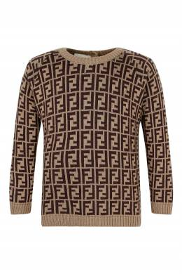 Бежевый свитер с коричневыми логотипами Fendi Kids 690161966