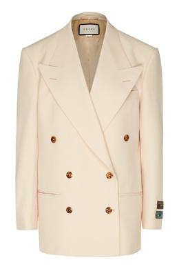 Белый двубортный пиджак Gucci 470162384