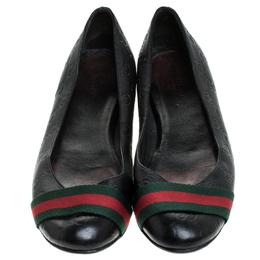 Gucci Black Guccissima Leather Web Detail Ballet Flats Size 38 239825