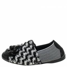 Chanel Black/White Tweed Fabric And Leather Camellia Loafer Flats Size 38