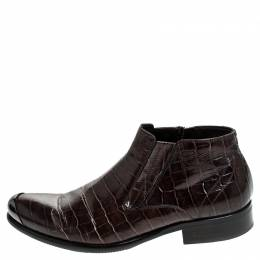 Baldinini Brown Crocodile Embossed Leather Ankle Boots Size 39 239947