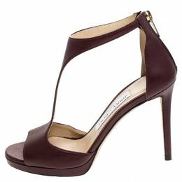 Jimmy Choo Burgundy Leather Lana T Strap Sandals Size 35