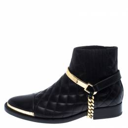 Balmain Black Quilted Leather Chain Embellished Ankle Boots Size 36 239813