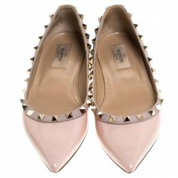 Valentino Beige Patent Leather Pointed Toe Ballet Flats Size 38.5 240402