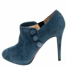 Christian Louboutin Blue Suede Leather C'est Moi Ankle Boots Size 40 239720