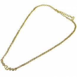 Dior Rhinestone Gold Tone CD Pendant Necklace 239695