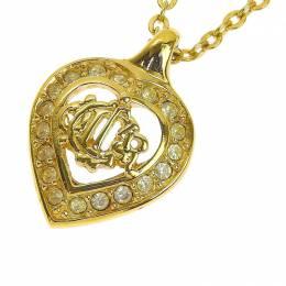 Dior Rhinestone Gold Tone Heart Pendant Necklace 239694