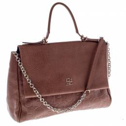 Carolina Herrera Brown Leather Minuetto Flap Top Handle Bag 237376
