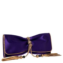 Gucci Purple/Gold Satin Malika Evening Clutch 235352