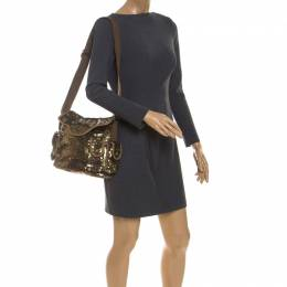 Sonia Rykiel Gold Sequin and Fabric Shoulder Bag 235248