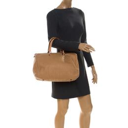 Carolina Herrera Beige Leather Large Andy Boston Bag 236095