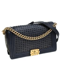 Chanel Blue/Gold Woven Leather New Medium Boy Flap Bag 235944