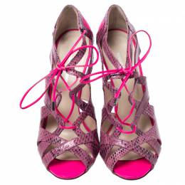 Nicholas Kirkwood Neon Pink/Light Purple Python Leather and Leather Lace Up Sandals Size 37 240320