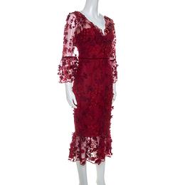 Marchesa Notte Burgundy 3D Floral Lace Midi Dress M