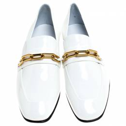 Burberry White Patent Leather Chillcot Slip On Loafers Size 39 240620