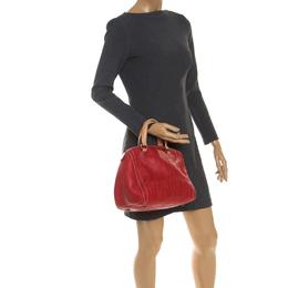 Carolina Herrera Red Monogram Leather Andy Boston Bag 237990