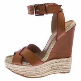 Dsquared2 Brown Leather Wedge Espadrille Platform Sandals Size 37 238525