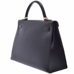 Hermes Black Leather Gold Hardware Kelly Retourne 32 Bag 239572