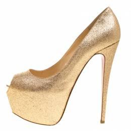 Christian Louboutin Gold Glitter Lady Peep Toe Platform Pumps Size 40.5