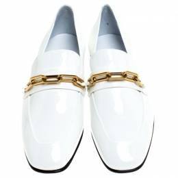 Burberry White Patent Leather Chillcot Slip On Loafers Size 36.5 240417