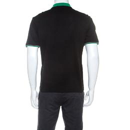 Prada Black Cotton Contrast Collar Polo T-Shirt XS 240387