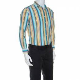 Etro Multicolor Striped Seersucker Button Front Shirt M