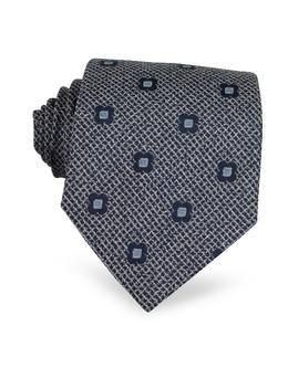 Темно-синий Текстурный Шелковый Галстук с Цветами Forzieri 2856/4