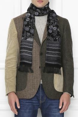 Черный шарф с серо-голубым узором Etro 907159243